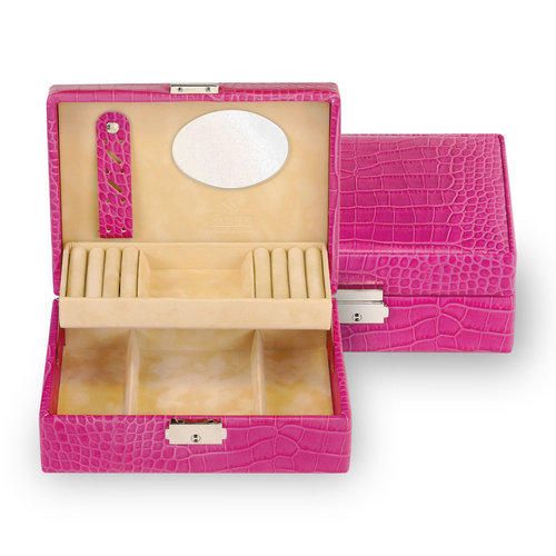 jewellery box Britta, leather / crocodile, pink