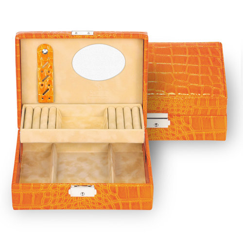 jewellery box Britta, leather / crocodile, orange