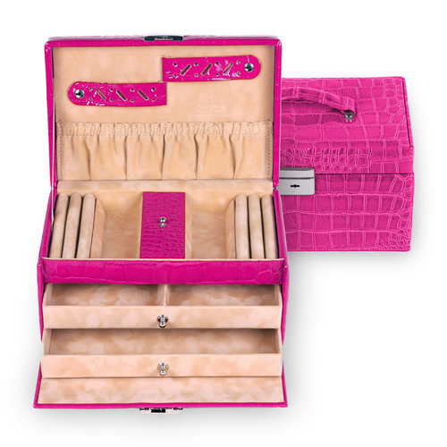 jewellery case Eva/ crocodile, pink (leather)