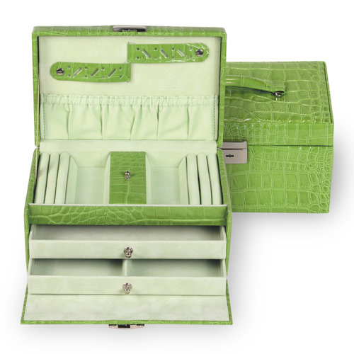 jewellery case Eva/ crocodile, apple (leather)