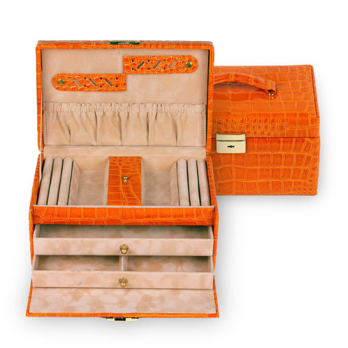Schmuckkoffer Eva/ crocodile, orange (Echt Leder)