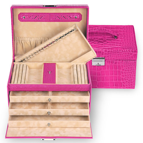 jewellery case Julia, leather / crocodile, pink