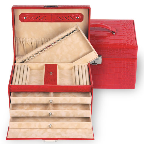jewellery case Julia, leather / crocodile, red