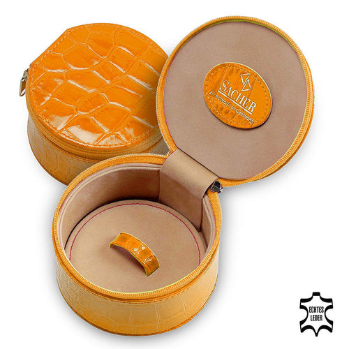 Schmuckbox Betsy/ crocodile, orange (Echt Leder)