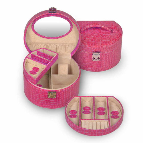 Coffret à bijoux/ croco royal, pink