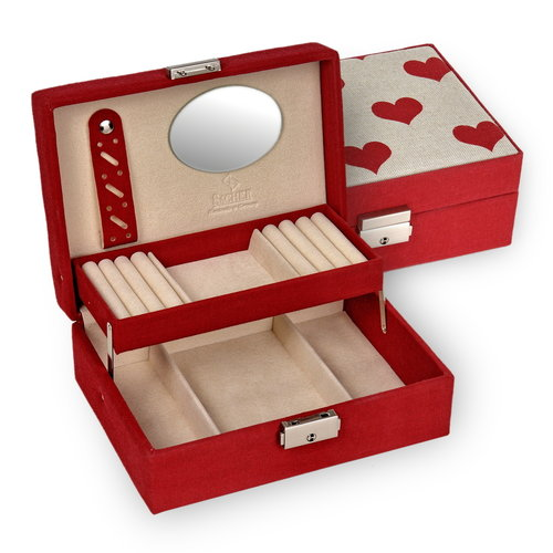 jewellery box Britta/ leinen, hearts