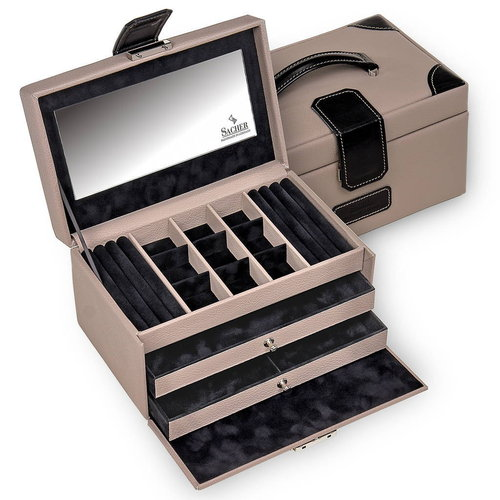 jewellery case Elly/ ledro, taupe