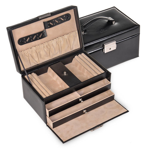 jewellery case Eva/ new classic, black (leather)