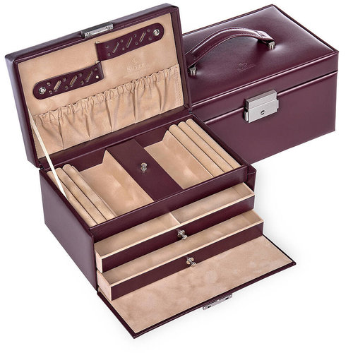 jewellery case Eva, leather / new classic, bordeaux