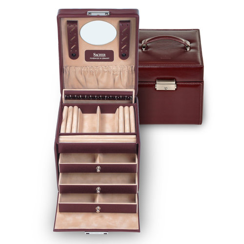jewellery case Erika/ new classic, bordeaux (leather)
