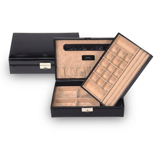 jewellery box Isa, leather / new classic, black