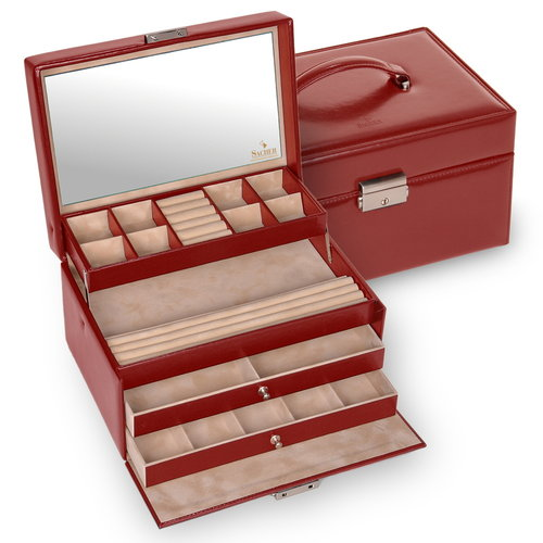 jewellery case Jette/ new classic, red (leather)