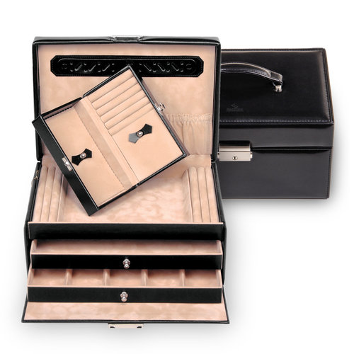 jewellery case incl. travel box Ina/ new classic, black (leather)
