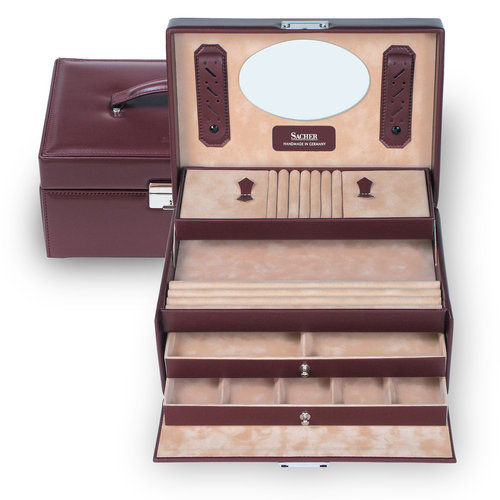 jewellery case Jana/ new classic, bordeaux (leather)