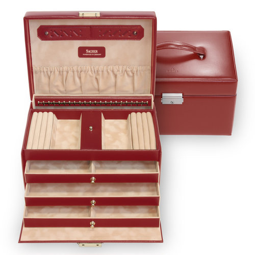 jewellery case Julia/ new classic, red (leather)