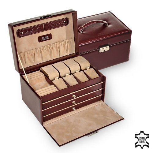 jewellery case Katja, leather / new classic, bordeaux