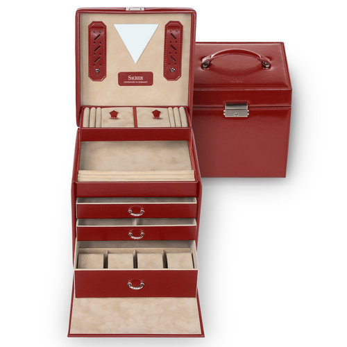 jewellery case Lisa, leather / new classic, red