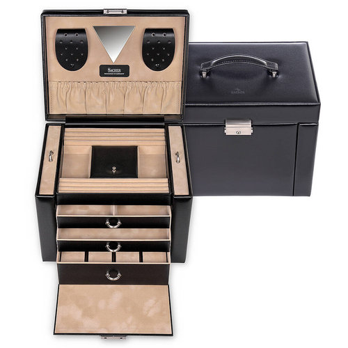jewellery case Maxima/ new classic, black (leather)