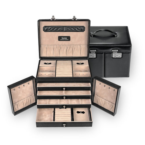 jewellery case incl. travel box Mona/ new classic, black (leather)