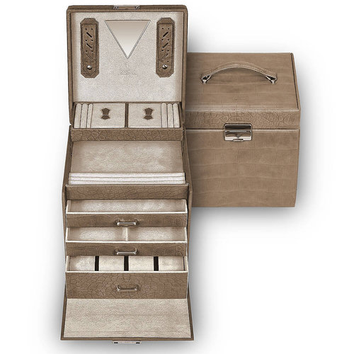 jewellery case Lisa, cowhide-leather / nature missouri, grey