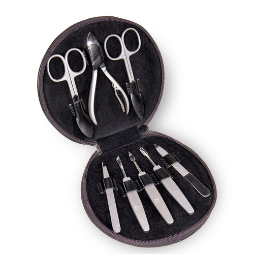 8 pcs. manicure set, leather / Maniküren, black