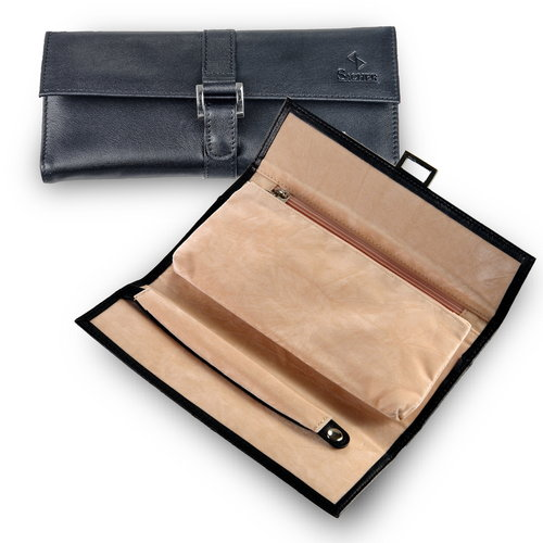 jewellery roll / new classic, black (leather)