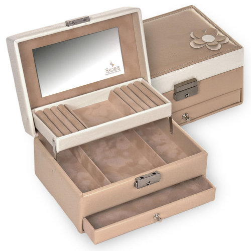 jewellery box Carola/ bella fiore, beige