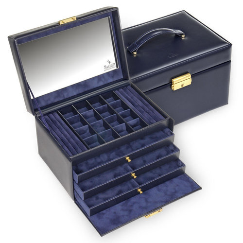 jewellery case Lena, leather / acuro, navy