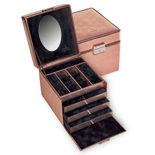 jewellery case Evita/ lagarto, rose gold