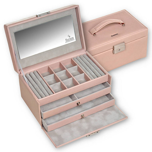jewellery case Elly, leather / pastello, rose