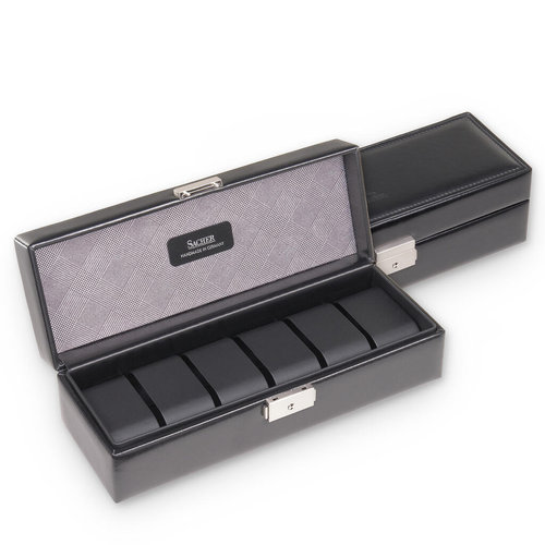 case for 6 watches  / gents, black