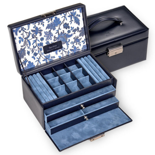 jewellery case Elly, leather / florage, navy