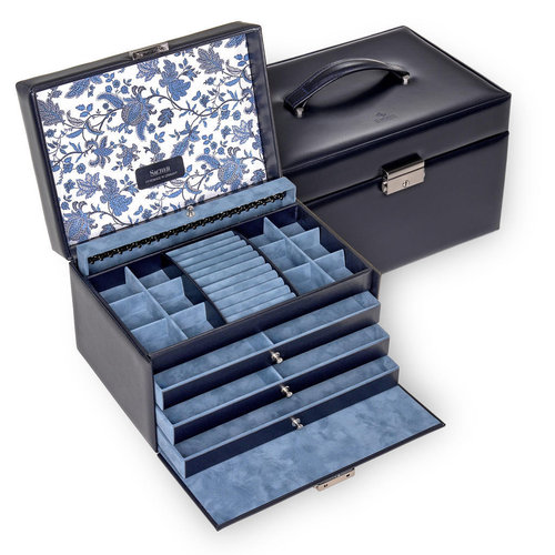 jewellery case Jasmin, leather / florage, navy