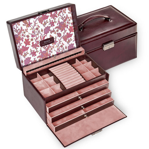 jewellery case Jasmin / florage, bordeaux
