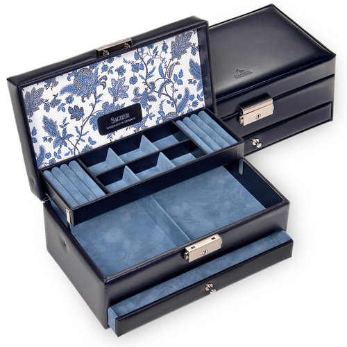 jewellery case Helen, leather / florage, navy